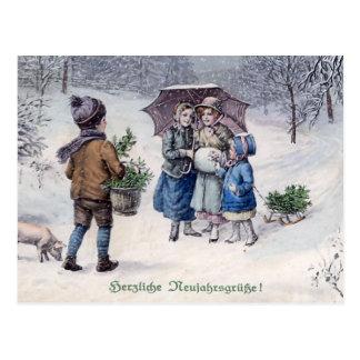 """""""Herzliche Neujahrsgrusse"""" Vintage German Postcard"""
