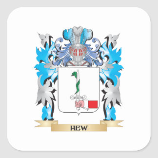 Hew Coat of Arms - Family Crest Square Sticker