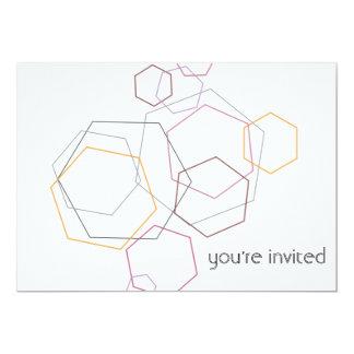 Hexagon Honeycomb Pink and Yellow Invitation