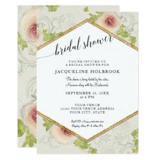 Hexagon Modern Calligraphy Floral Bridal Shower Card