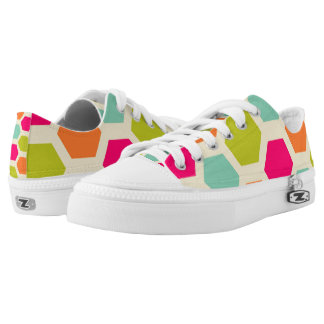 Hexagon Retro Orange Green Aqua and Pink Pattern Printed Shoes