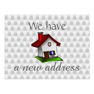Hexagona Pattern Retro House Change of Address Postcard