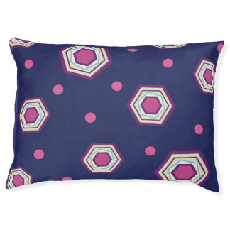 Hexagons Blue Dog Bed