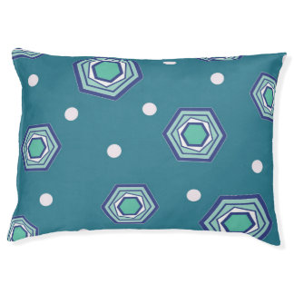 Hexagons Teal Dog Bed