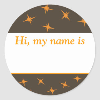 """Hi, my name is ___"" - Orange Stars On Brown Round Stickers"