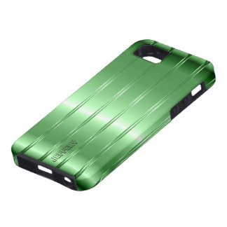Hi Tech Metallic Green Stripes Design Case For The iPhone 5