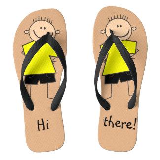 Hi there Fun Boy Stick Figure Flip Flops