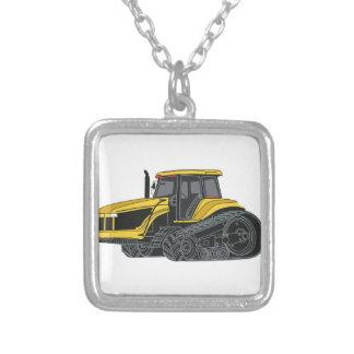 Hi Track Tractor Square Pendant Necklace