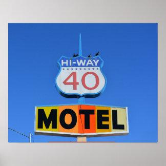 Hi-way 40 Motel Sign Poster