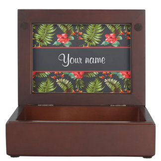 Hibiscus and Palm Fronds Keepsake Box