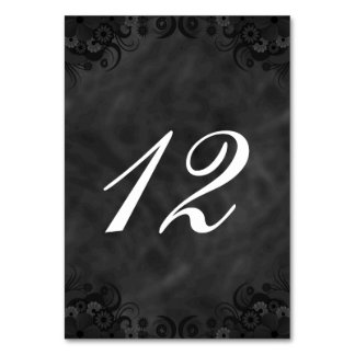Hibiscus Black Floral Reception Table Number Cards Table Cards