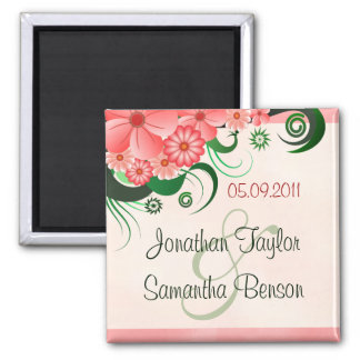 Hibiscus Floral Pink Save The Date Fridge Magnets