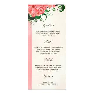 Hibiscus Floral Pink Wedding Dinner Menu Cards Rack Card Design