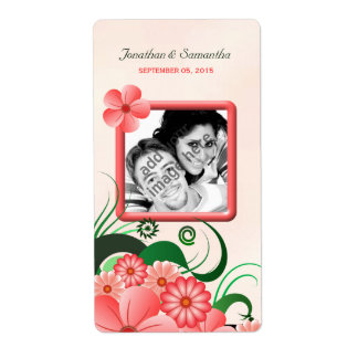 Hibiscus Floral Pink Wedding Photo Wine Labels