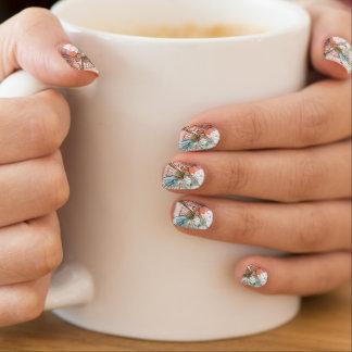 Hibiscus flower & watercolor background minx nail art
