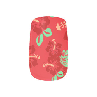 Hibiscus Flowers Minx Nail Art
