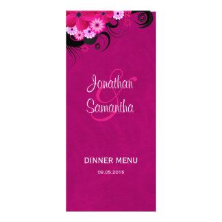Hibiscus Fuchsia Floral Wedding Dinner Menu Cards Full Colour Rack Card