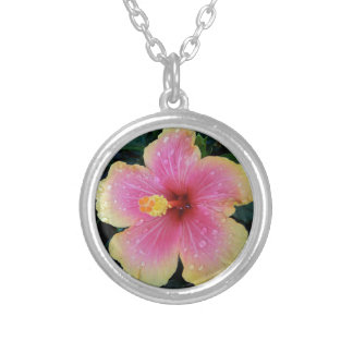 Hibiscus Hawaiian Flower Silver Plated Necklace