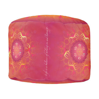 Hibiscus Mandala Round Pouf