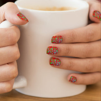 Hibiscus Multicolor Flowers on Red Minx Nail Art