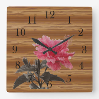 hibiscus on the wood square wall clock