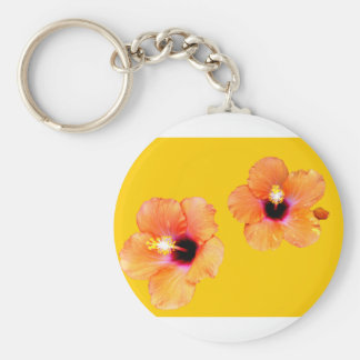 Hibiscus Orange Gold bg The MUSEUM Zazzle Gifts Key Chains