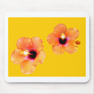Hibiscus Orange Gold bg The MUSEUM Zazzle Gifts Mousepads