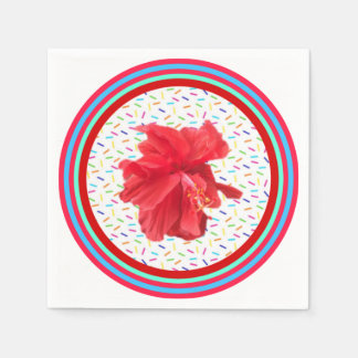 Hibiscus party sprinkles and stripes disposable serviettes