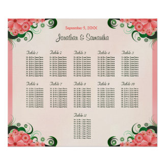 Hibiscus Pink 11 Wedding Tables Seating Charts Poster
