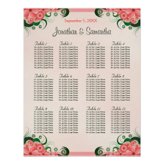 Hibiscus Pink 12 Wedding Tables Seating Charts