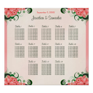Hibiscus Pink 13 Wedding Tables Seating Charts