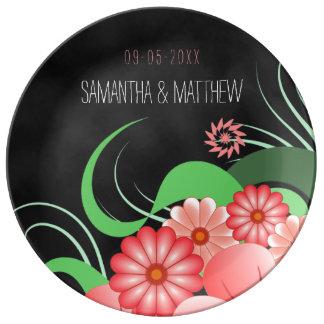 "Hibiscus Pink Floral Black 10.75"" Porcelain Plate"