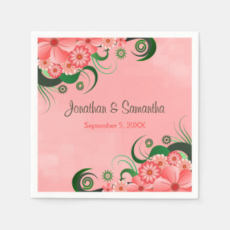 Hibiscus Pink Floral Custom Wedding Paper Napkins