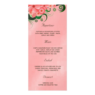 Hibiscus Pink Floral Wedding Dinner Menu Cards Personalized Rack Card