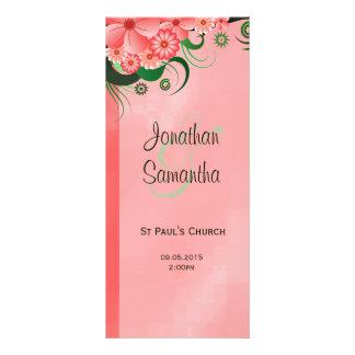 Hibiscus Pink Floral Wedding Program Template Card Rack Card Design