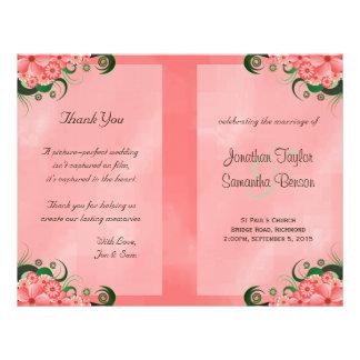 Hibiscus Pink Floral Wedding Program Templates 21.5 Cm X 28 Cm Flyer