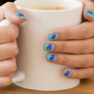 Hibiscus Puruple and Blue Minx Nail Art