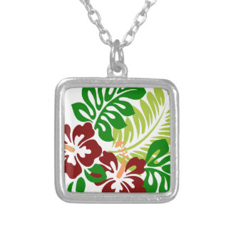 Hibiscus super Doper Image Silver Plated Necklace