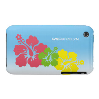 Hibiscus tropical flowers blossom trio Hawaiian iPhone 3 Covers