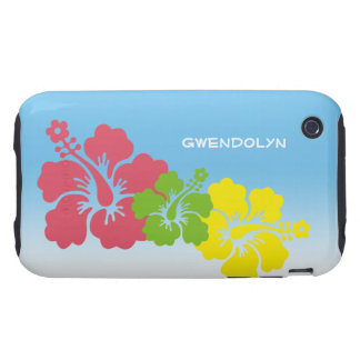 Hibiscus tropical flowers blossom trio Hawaiian Tough iPhone 3 Case