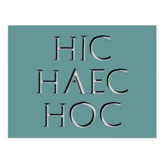 hic haec hoc Latein latin Post Cards