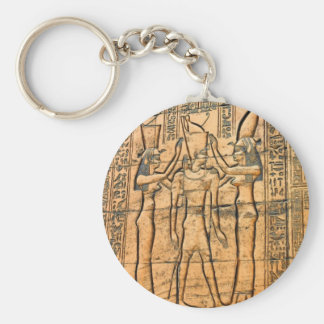 Hieroglyphs at Edfu Temple, Egypt Basic Round Button Key Ring