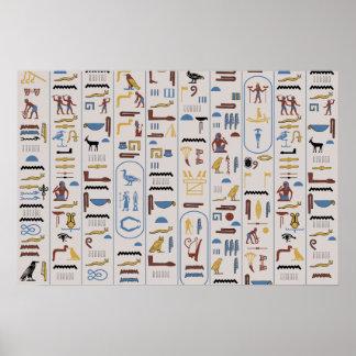 Hieroglyphs Pharaoh Ash Background Poster