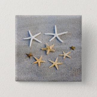 High angle view of a starfish on the beach 15 cm square badge