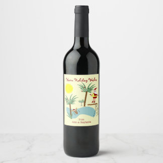 High Diving Santa Holiday Wine Labels