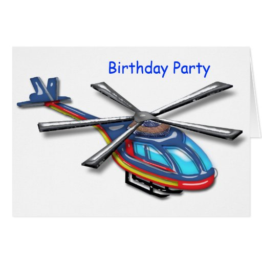 High Flying Helicopter Birthday Party Greeting Card