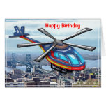 High Flying Helicopter over City Happy Birthday Greeting Card