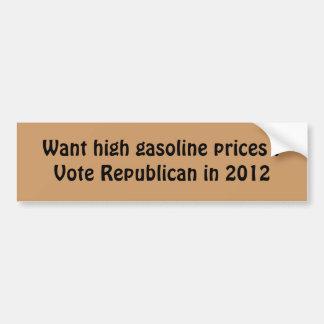 high gas prices bumper sticker