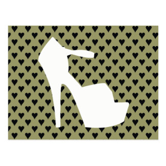 HIGH HEEL - PUMP IT UP SAGE ON STAGE HEARTS POSTCARD