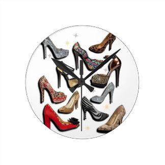 High Heel Shoe Collage Sparkle Fashion Pumps Round Clock